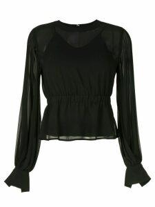 CK Calvin Klein pleated long-sleeve blouse - Black