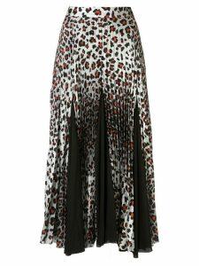 Marques'Almeida leopard-print pleated skirt - White
