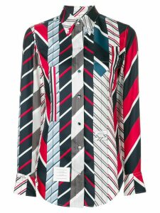 Thom Browne Repp stripe tie collage silk shirt - Blue