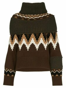 Sacai zip-off panelled knit jumper - Brown