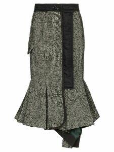 Sacai flared herringbone skirt - Black