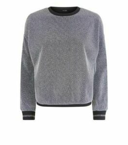 Silver Glitter Stripe Cuff Sweatshirt New Look