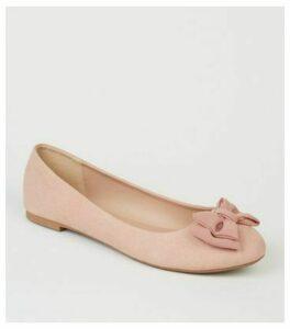 Wide Fit Pink Suedette Bow Ballet Pumps New Look Vegan