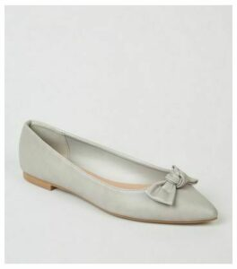 Grey Leather-Look Pointed Bow Ballet Pumps New Look Vegan