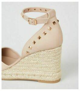 Pale Pink Leather-Look Stud Espadrille Wedges New Look