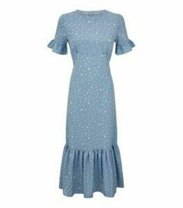 Blue Vanilla Pale Blue Spot Frill Midi Dress New Look