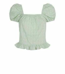 Pink Vanilla Mint Green Floral Puff Sleeve Peplum Top New Look