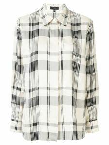 Theory check print regular fit shirt - NEUTRALS