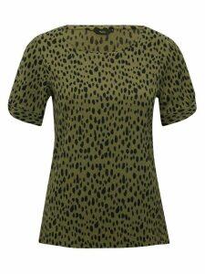 Women's Ladies animal print twist sleeve top