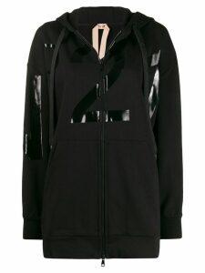 Nº21 vinyl logo zipped hoodie - Black