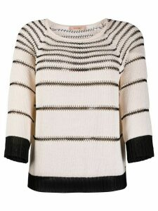 Twin-Set stitch detail jumper - NEUTRALS