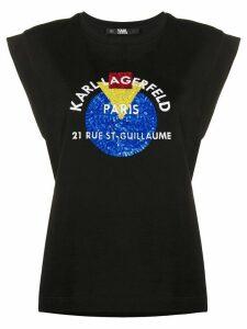 Karl Lagerfeld Bauhaus Address logo tank top - Black
