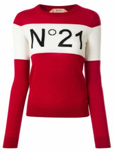Nº21 block-stripe logo jumper - Red