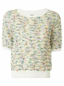Coohem Summer Garden tweed knit top - White