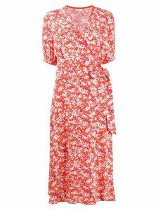 Tommy Hilfiger floral wrap dress - ORANGE