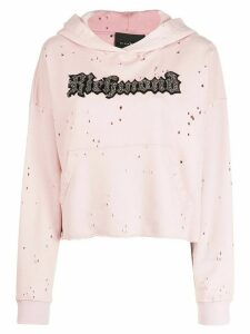 John Richmond sequin logo embroidered hoodie - PINK