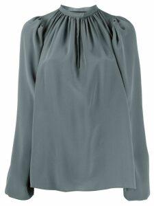 Rochas long sleeve gathered neck silk blouse - Blue