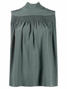Rochas sleeveless smocked silk blouse - Blue