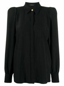 Versace puff-shoulders silk shirt - Black