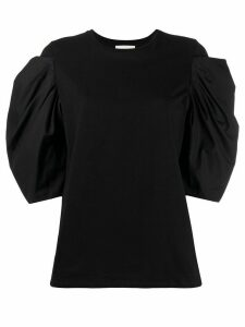 Alexander McQueen puff-sleeved cotton top - Black