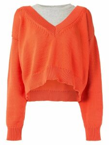 Alexander Wang slouchy V-neck jumper - ORANGE