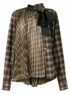 Sacai chiffon-panelled flannel shirt - Brown