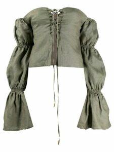 Cult Gaia Claire off-the-shoulder linen blouse - Green