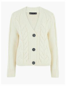M&S Collection Cable Knit V-Neck Cropped Cardigan