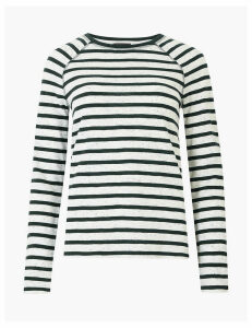M&S Collection Cotton Raglan Striped Straight Fit Top