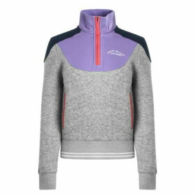 Jack Wills Hatfield Colour Block Half Zip Track Top - Grey Marl