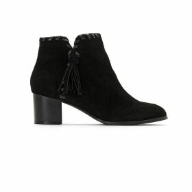 Suede Western Ankle Boots with Tassel