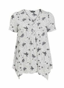 Ivory Butterfly Print Short Sleeve Pintuck Top, Ivory