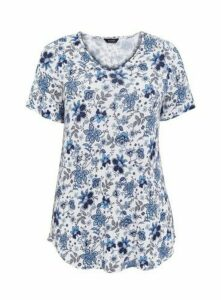 Ivory Multicoloured Floral Print T-Shirt, Ivory