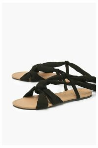 Womens Wrap Strap Basic Sandals - black - 8, Black