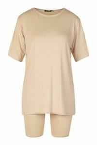 Womens Petite Oversized T-Shirt & Cycling Short Set - beige - 14, Beige