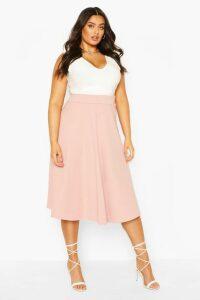 Womens Plus Bandage Rib Midi Skater Skirt - Pink - 20, Pink