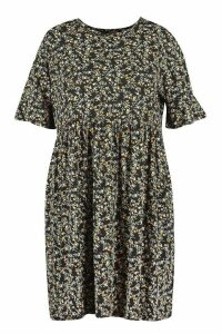 Womens Plus Floral Ruffle Smock Dress - Black - 20, Black
