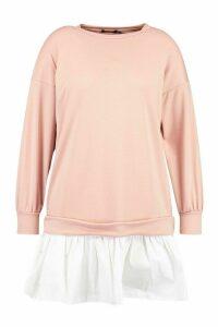 Womens Plus Sweat Contrast Cotton Ruffle Dress - Pink - 24, Pink
