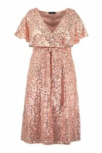 Womens Plus Occasion Sequin Detail Midi Dress - Pink - 20, Pink