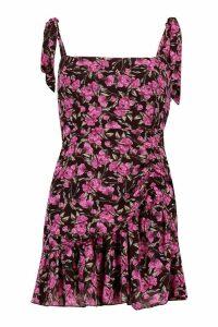 Womens Petite Floral Ruched Frill Hem Strappy Dress - Black - 14, Black