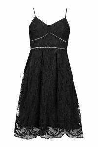 Womens Petite Premium Lace Midi Dress - Black - 14, Black