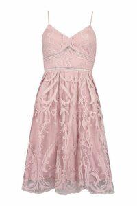 Womens Petite Premium Lace Midi Dress - Purple - 8, Purple