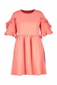 Womens Plus Extreme Ruffle Sleeve Smock Dress - Orange - 20, Orange