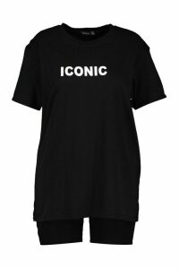 Womens Plus Iconic Slogan T-Shirt & Short Co-ord - black - 20, Black