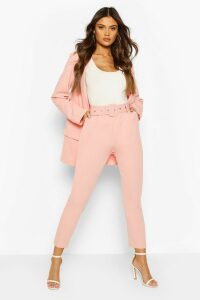 Womens Self Belt Tailored Trouser - Pink - 6, Pink