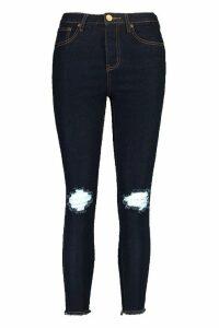Womens Petite Distressed Hem Skinny Jean - Blue - 10, Blue
