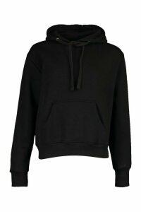 Womens Basic Solid Oversized Hoody - black - S/M, Black