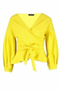 Womens Bell Sleeve Wrap Over Top - Yellow - 16, Yellow