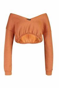 Womens V Neck Crop jumper - beige - M, Beige