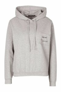 Womens Wear Me Slogan Balloon Sleeve Hoody - Grey - 14, Grey